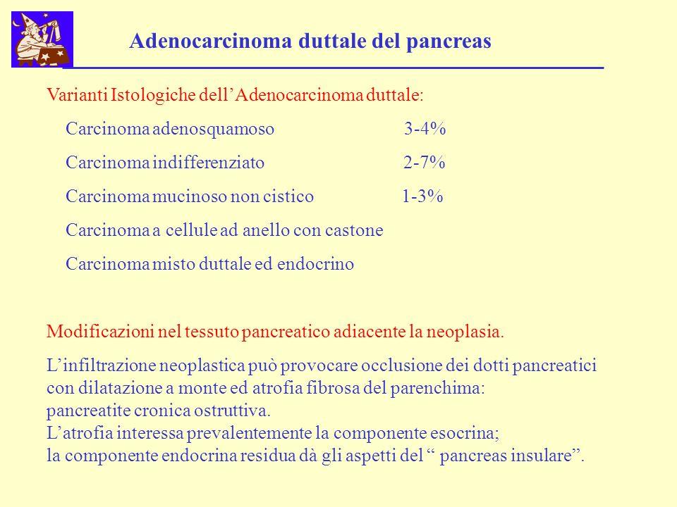 Varianti Istologiche dellAdenocarcinoma duttale: Carcinoma adenosquamoso 3-4% Carcinoma indifferenziato 2-7% Carcinoma mucinoso non cistico 1-3% Carci