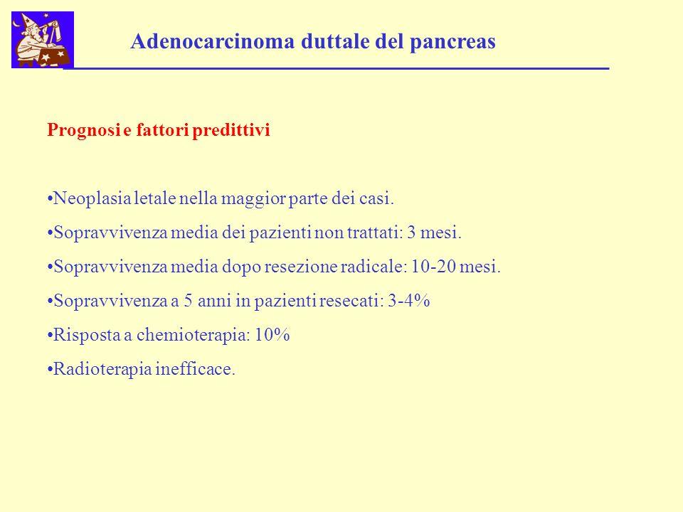 Adenocarcinoma duttale del pancreas Prognosi e fattori predittivi Neoplasia letale nella maggior parte dei casi. Sopravvivenza media dei pazienti non