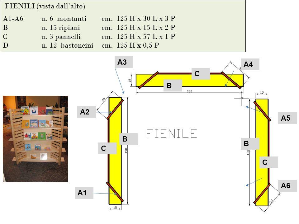 FIENILI (vista dallalto) A1-A6n. 6 montanti cm. 125 H x 30 L x 3 P Bn.
