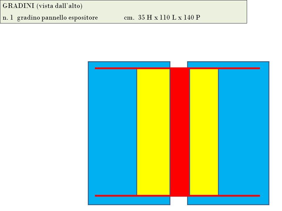 GRADINI (vista dallalto) n. 1 gradino pannello espositore cm. 35 H x 110 L x 140 P