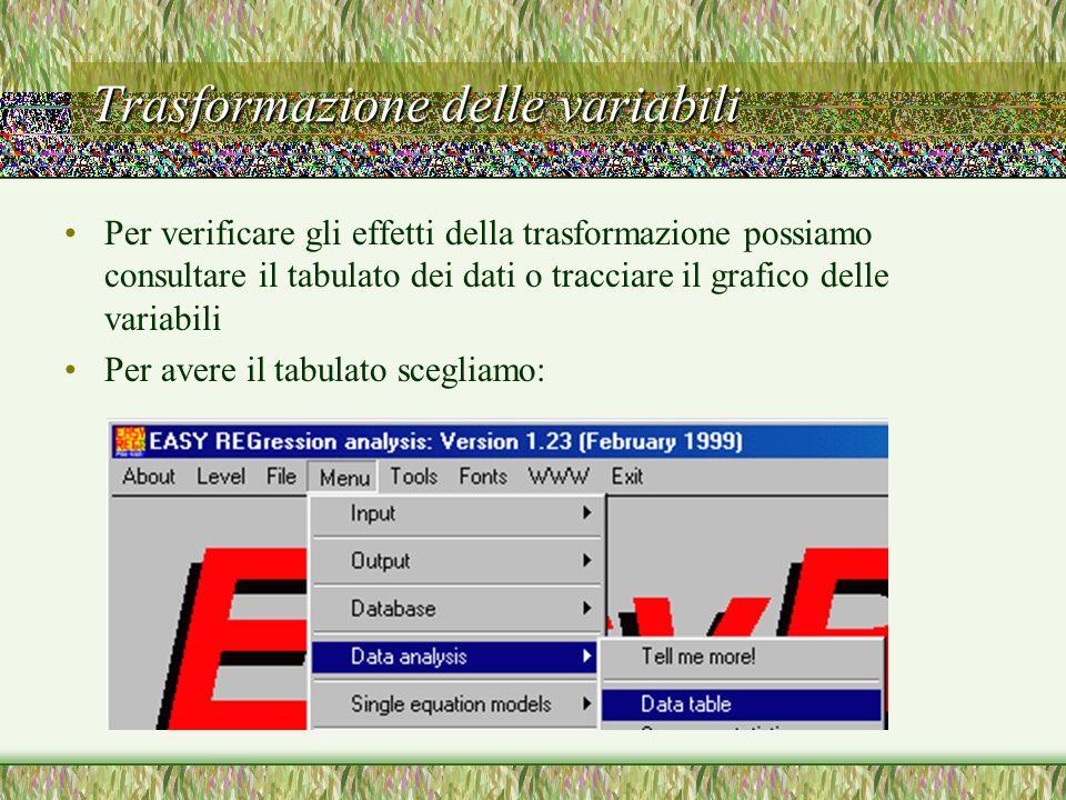 Trasformazione delle variabili Per verificare gli effetti della trasformazione possiamo consultare il tabulato dei dati o tracciare il grafico delle v