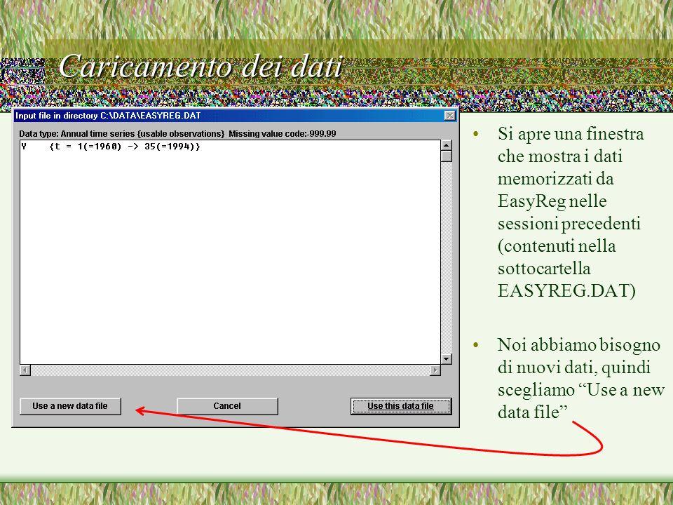 Caricamento dei dati Nel dialog che si apre facciamo doppio clic sul nome del file, che viene selezionato EasyReg ci mostra le prime cinquanta righe del file nella finestra accanto I dati sono quelli giusti, quindi selezioniamo Choose this file