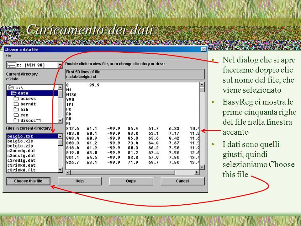 Caricamento dei dati Nel dialog che si apre facciamo doppio clic sul nome del file, che viene selezionato EasyReg ci mostra le prime cinquanta righe d