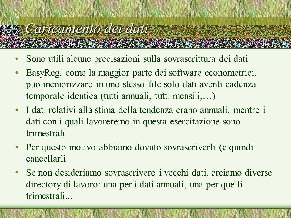 Caricamento dei dati Sono utili alcune precisazioni sulla sovrascrittura dei dati EasyReg, come la maggior parte dei software econometrici, può memori