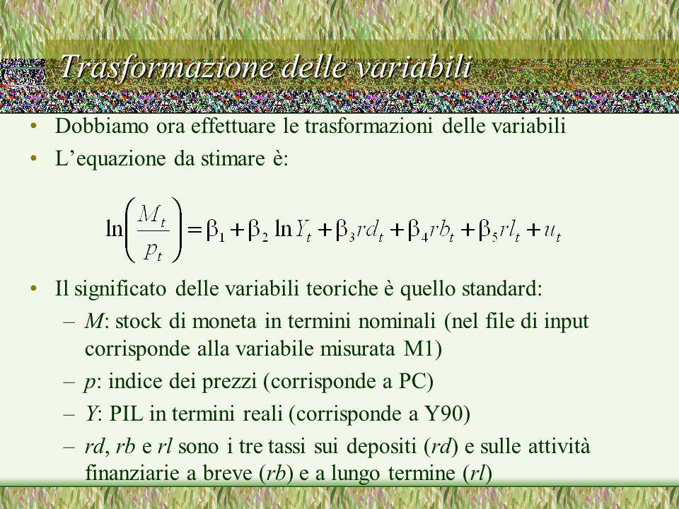 Trasformazione delle variabili Dobbiamo ora effettuare le trasformazioni delle variabili Lequazione da stimare è: Il significato delle variabili teori