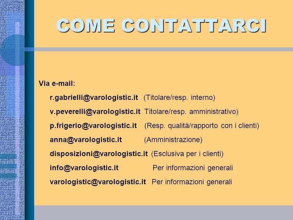 COME CONTATTARCI Via e-mail: r.gabrielli@varologistic.it (Titolare/resp. interno) v.peverelli@varologistic.it Titolare/resp. amministrativo) p.frigeri