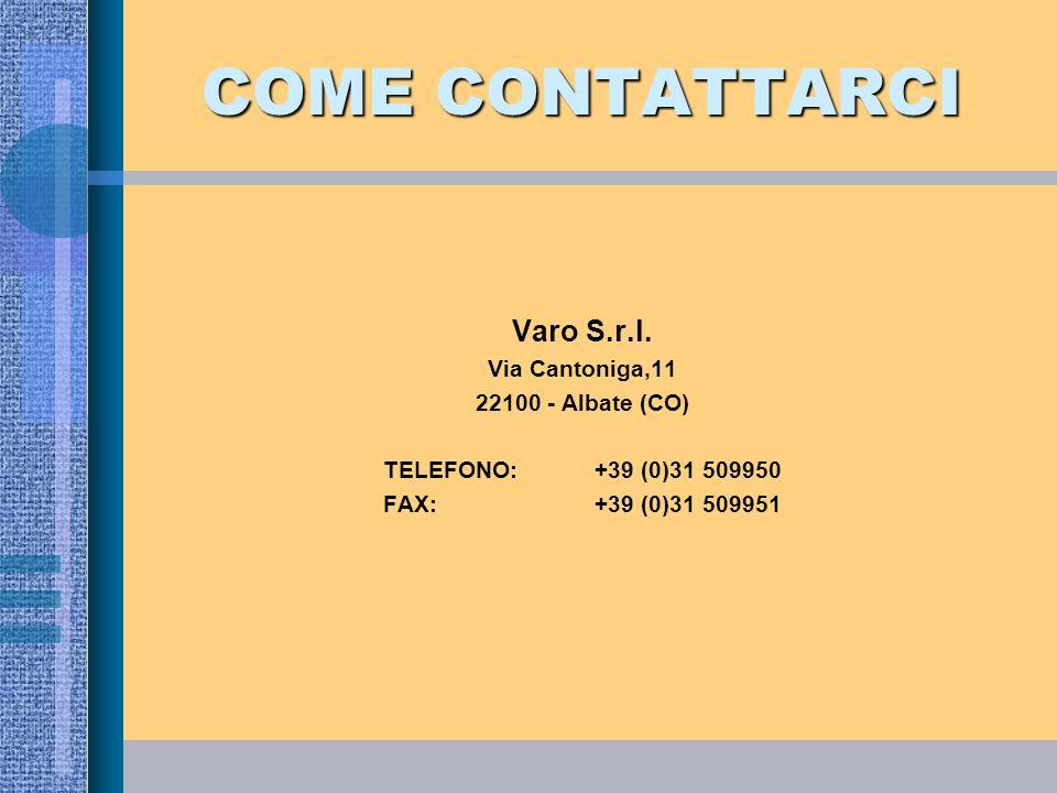 COME CONTATTARCI Varo S.r.l. Via Cantoniga,11 22100 - Albate (CO) TELEFONO: +39 (0)31 509950 FAX:+39 (0)31 509951