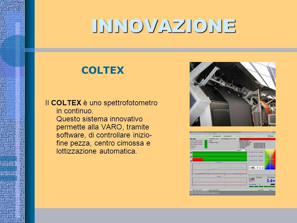 INNOVAZIONE Il COLTEX è uno spettrofotometro in continuo. Questo sistema innovativo permette alla VARO, tramite software, di controllare inizio- fine