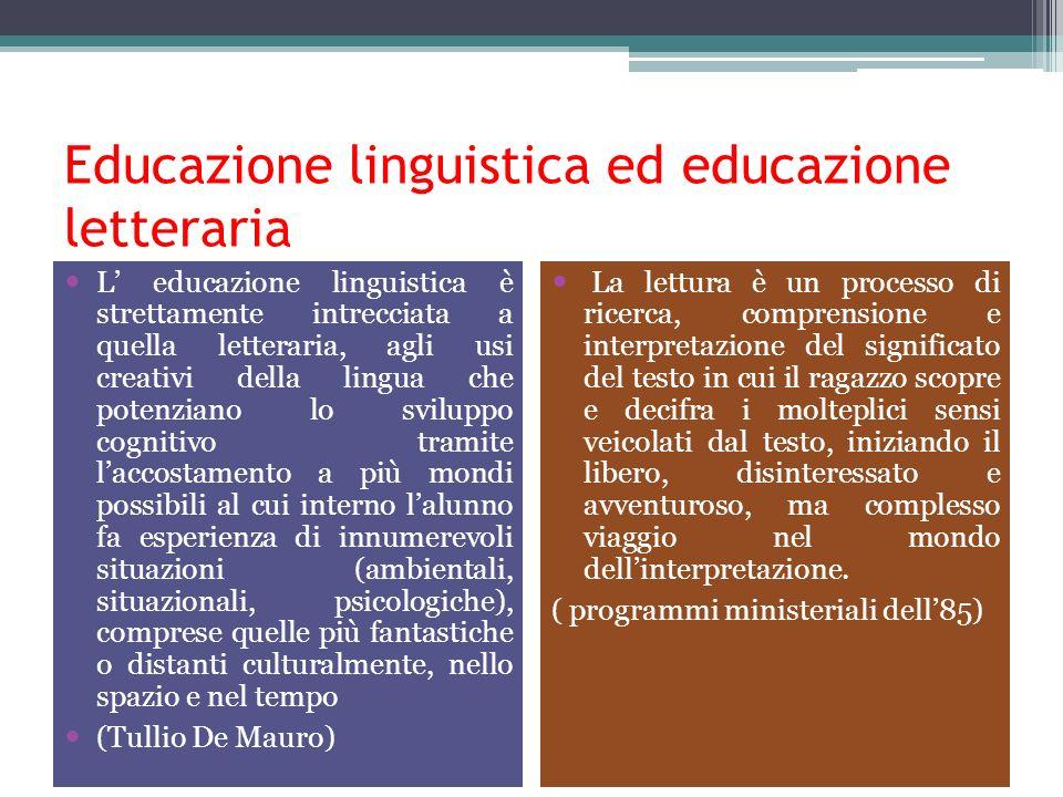 Educazione linguistica ed educazione letteraria L educazione linguistica è strettamente intrecciata a quella letteraria, agli usi creativi della lingu