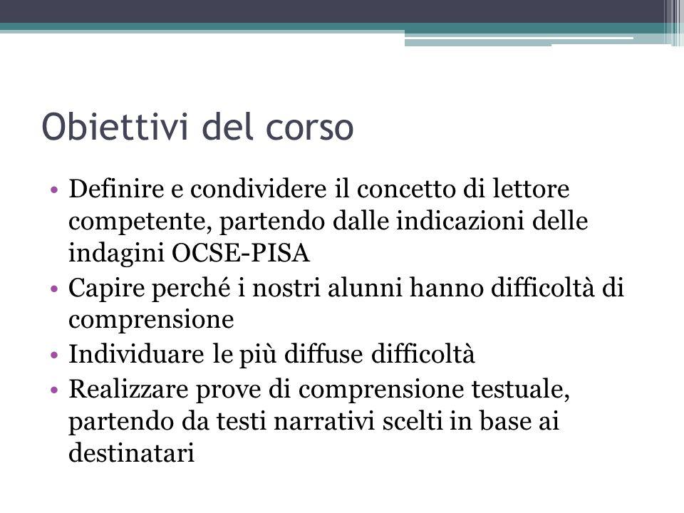 Obiettivi del corso Definire e condividere il concetto di lettore competente, partendo dalle indicazioni delle indagini OCSE-PISA Capire perché i nost
