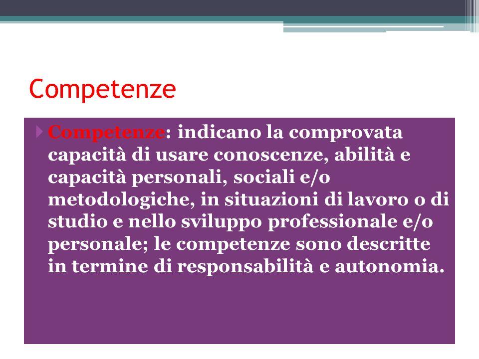 Competenze Competenze: indicano la comprovata capacità di usare conoscenze, abilità e capacità personali, sociali e/o metodologiche, in situazioni di