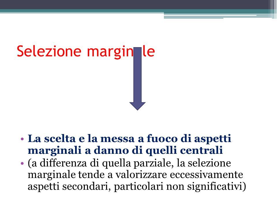 Selezione marginale La scelta e la messa a fuoco di aspetti marginali a danno di quelli centrali (a differenza di quella parziale, la selezione margin