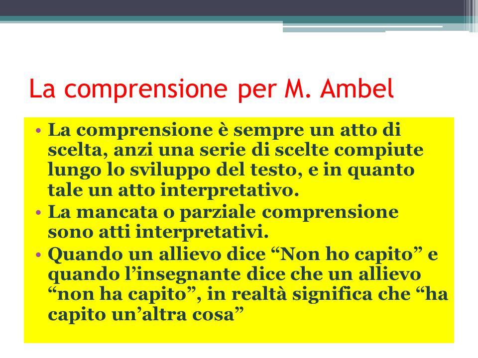 La comprensione per M. Ambel La comprensione è sempre un atto di scelta, anzi una serie di scelte compiute lungo lo sviluppo del testo, e in quanto ta