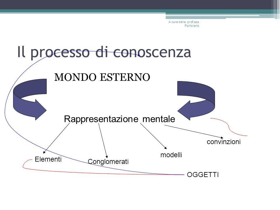 Il processo di conoscenza MONDO ESTERNO A cura della prof.ssa Portolano Rappresentazione mentale Elementi Conglomerati modelli convinzioni OGGETTI