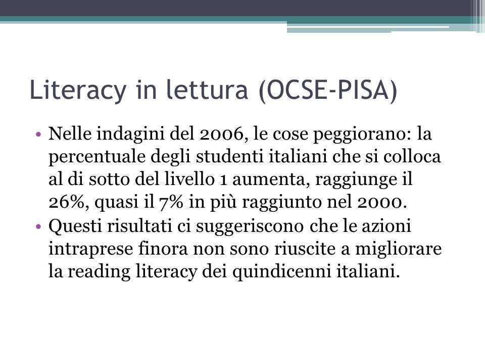 Literacy in lettura (OCSE-PISA) Nelle indagini del 2006, le cose peggiorano: la percentuale degli studenti italiani che si colloca al di sotto del liv