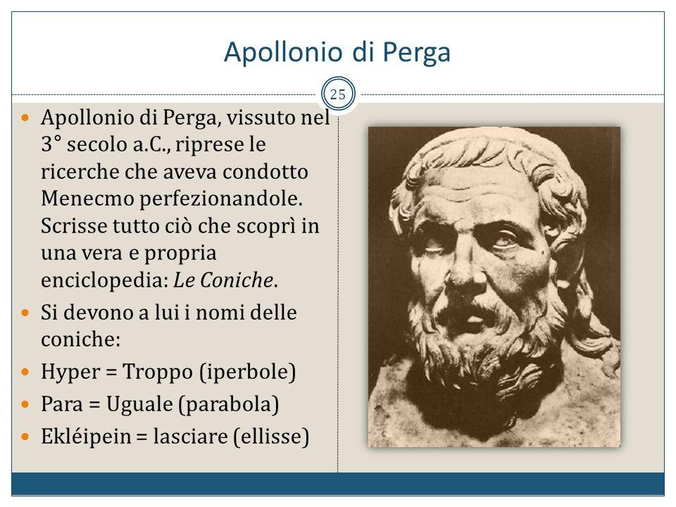 25 Apollonio di Perga, vissuto nel 3° secolo a.C., riprese le ricerche che aveva condotto Menecmo perfezionandole. Scrisse tutto ciò che scoprì in una