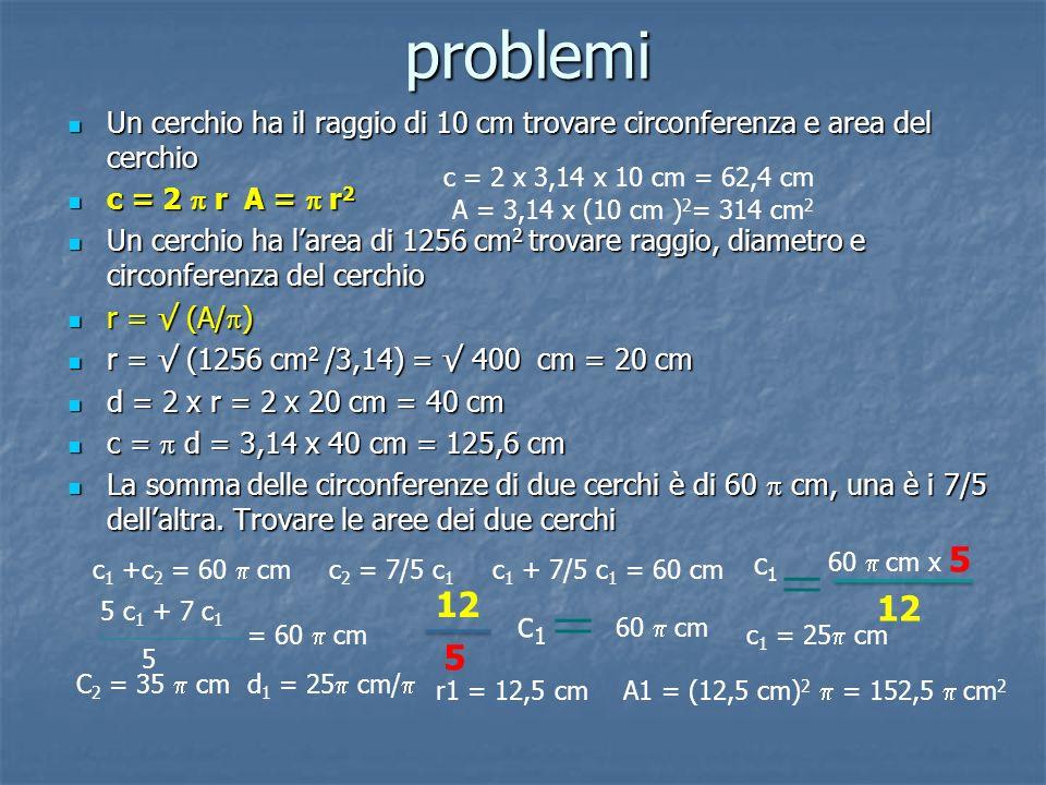 problemi Un cerchio ha il raggio di 10 cm trovare circonferenza e area del cerchio c = 2 r A = r2 Un cerchio ha larea di 1256 cm2 trovare raggio, diam