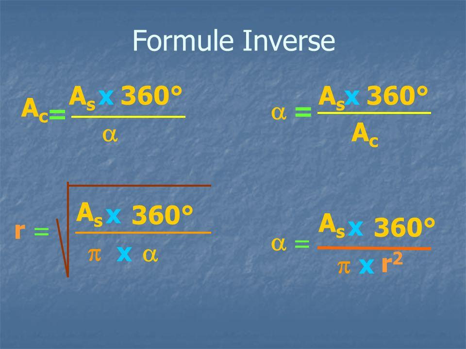 Formule Inverse = AcAc 360° x x AsAs r = 360° x = 360° x x r2r2 = 360° x AsAs AcAc AsAs AsAs