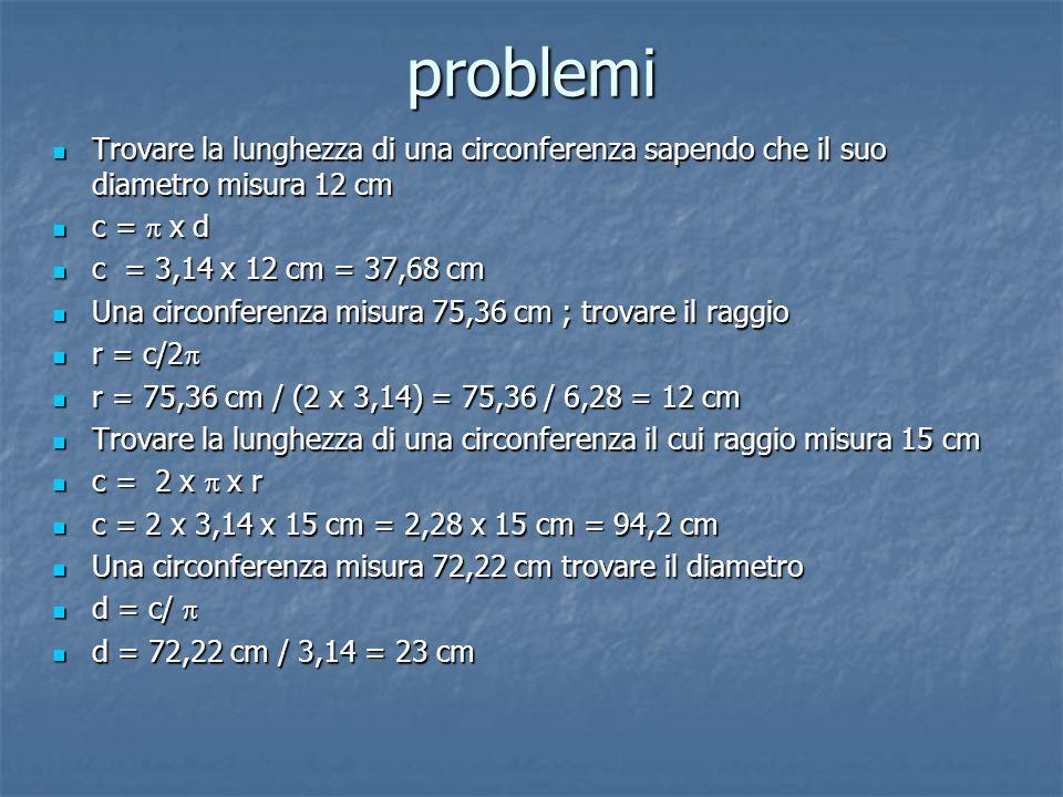 problemi Trovare la lunghezza di una circonferenza sapendo che il suo diametro misura 12 cm Trovare la lunghezza di una circonferenza sapendo che il s