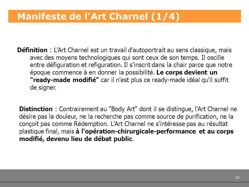 15 Manifeste de lArt Charnel (1/4) Définition : L'Art Charnel est un travail d'autoportrait au sens classique, mais avec des moyens technologiques qui