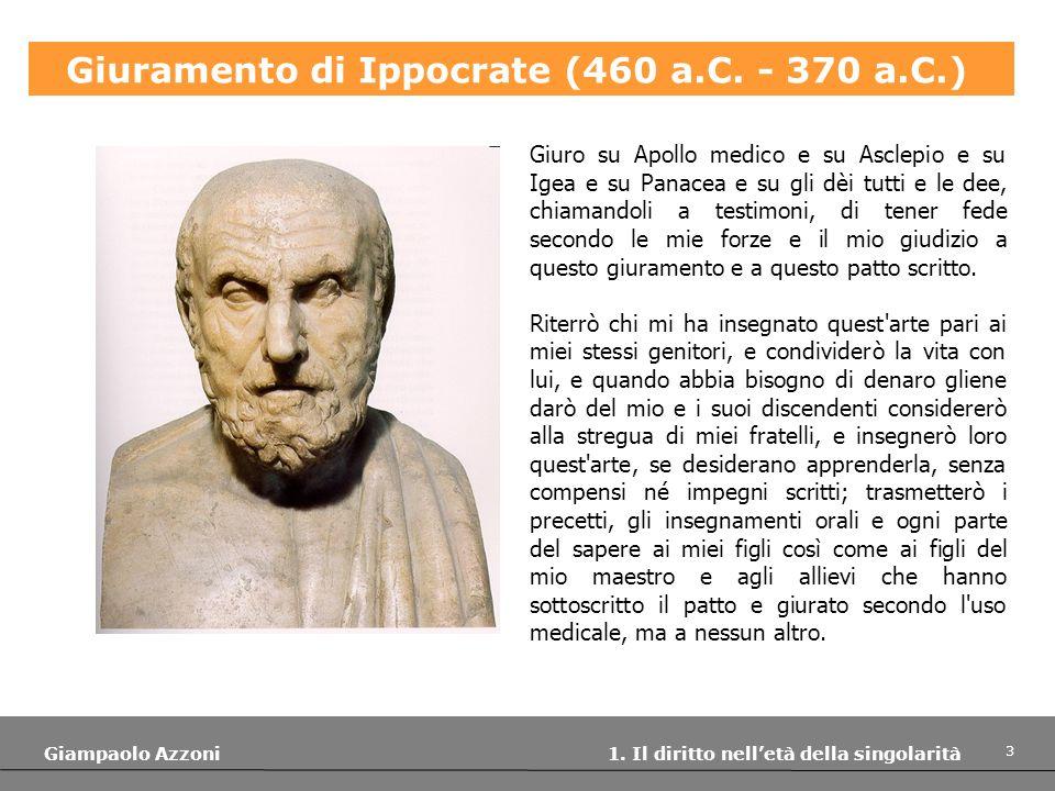3 Giampaolo Azzoni 1. Il diritto nelletà della singolarità Giuramento di Ippocrate (460 a.C. - 370 a.C.) Giuro su Apollo medico e su Asclepio e su Ige