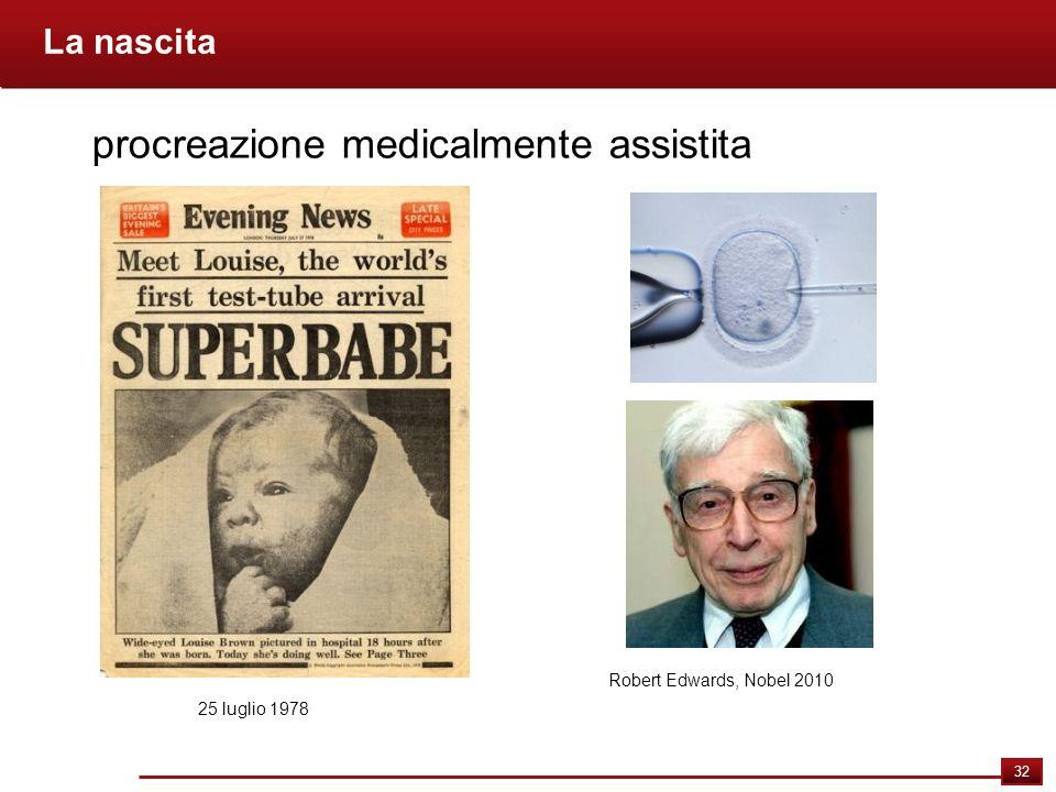 32 La nascita procreazione medicalmente assistita 25 luglio 1978 Robert Edwards, Nobel 2010