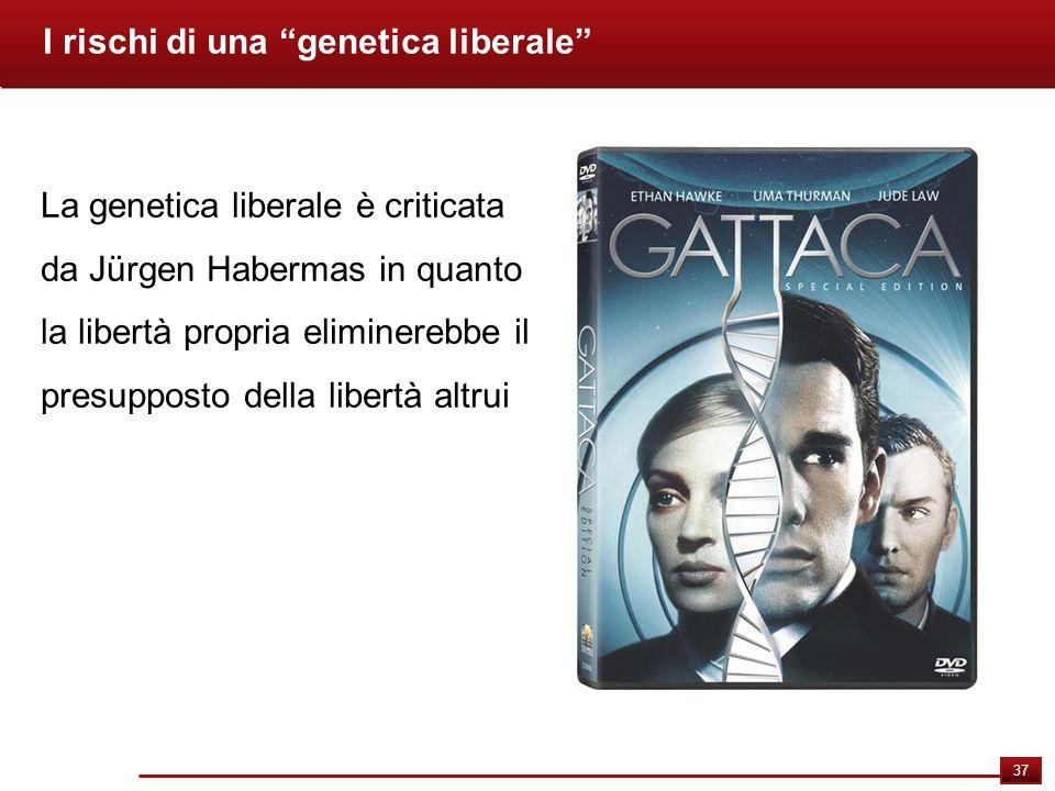 37 I rischi di una genetica liberale La genetica liberale è criticata da Jürgen Habermas in quanto la libertà propria eliminerebbe il presupposto dell