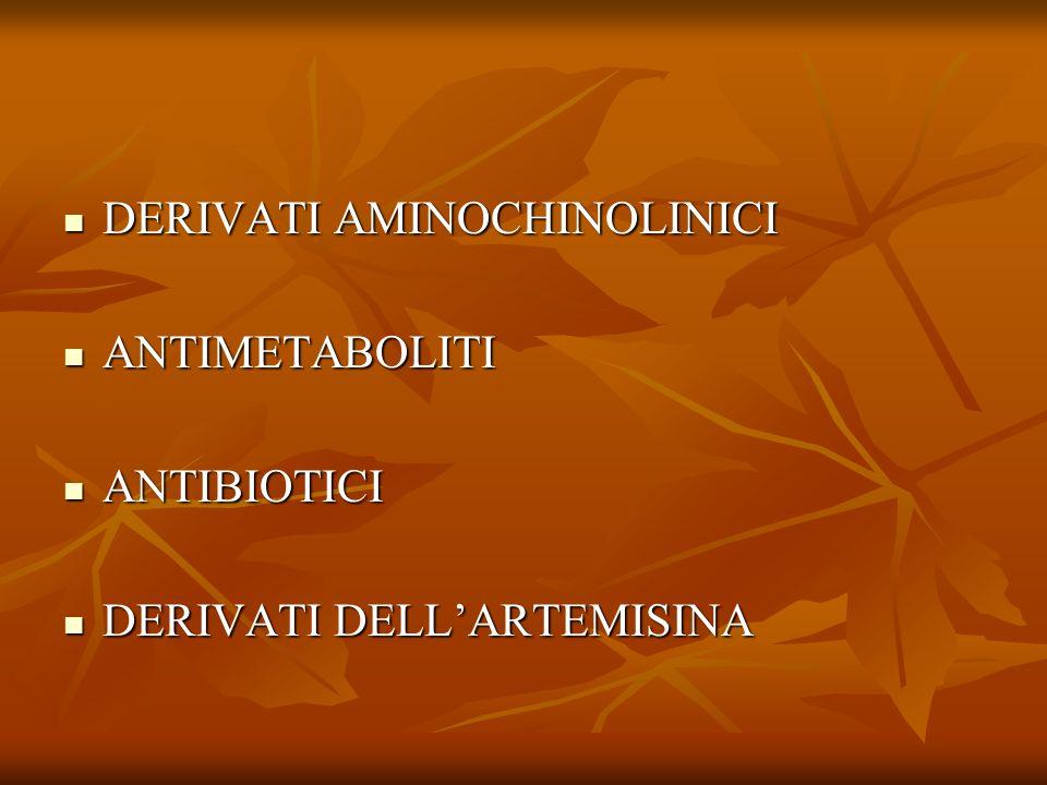 DERIVATI AMINOCHINOLINICI DERIVATI AMINOCHINOLINICI ANTIMETABOLITI ANTIMETABOLITI ANTIBIOTICI ANTIBIOTICI DERIVATI DELLARTEMISINA DERIVATI DELLARTEMIS