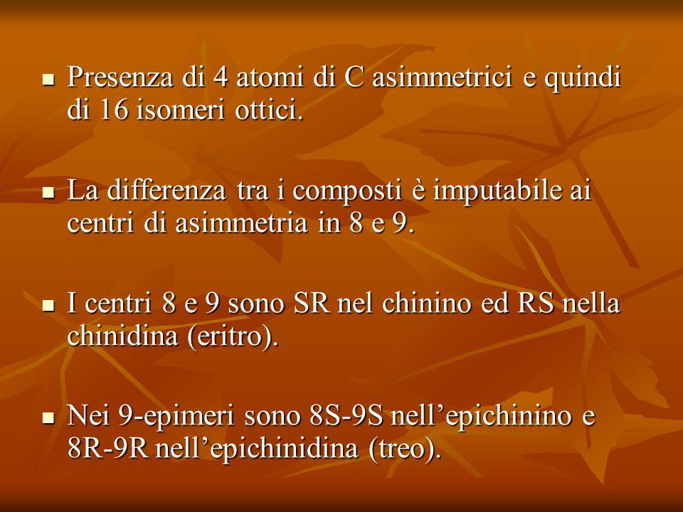 Presenza di 4 atomi di C asimmetrici e quindi di 16 isomeri ottici. Presenza di 4 atomi di C asimmetrici e quindi di 16 isomeri ottici. La differenza