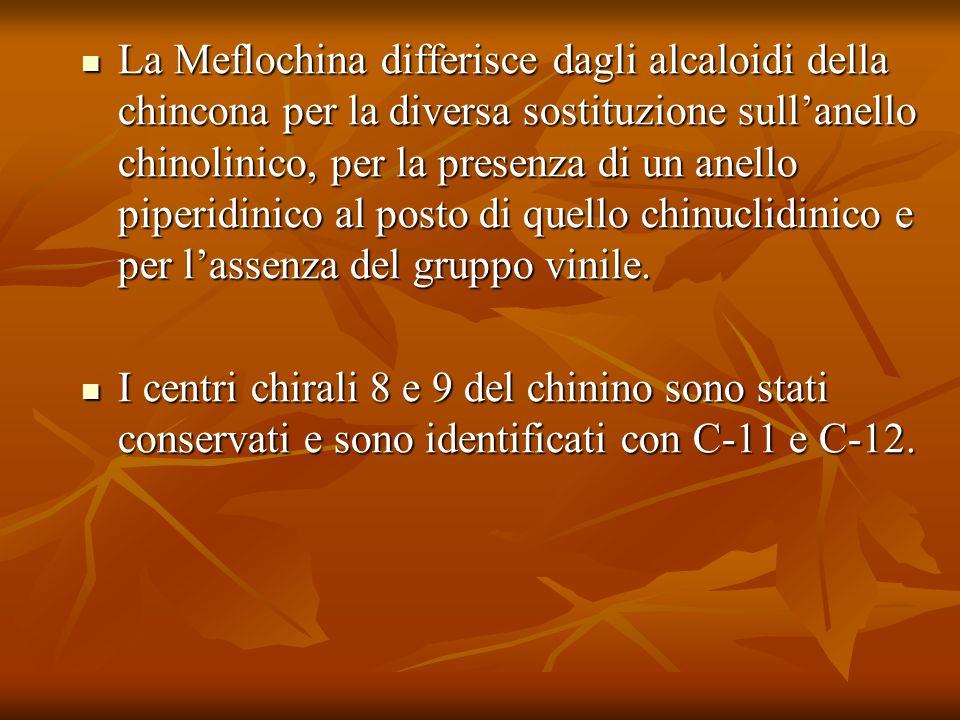La Meflochina differisce dagli alcaloidi della chincona per la diversa sostituzione sullanello chinolinico, per la presenza di un anello piperidinico