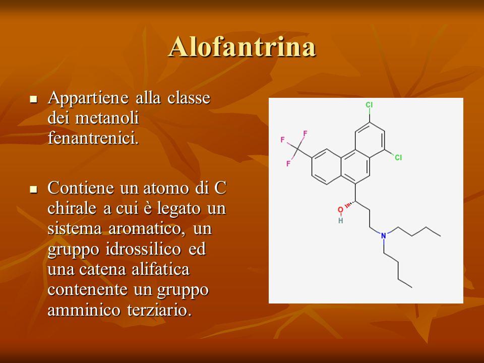Alofantrina Appartiene alla classe dei metanoli fenantrenici. Appartiene alla classe dei metanoli fenantrenici. Contiene un atomo di C chirale a cui è
