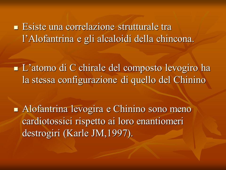 Esiste una correlazione strutturale tra lAlofantrina e gli alcaloidi della chincona. Esiste una correlazione strutturale tra lAlofantrina e gli alcalo