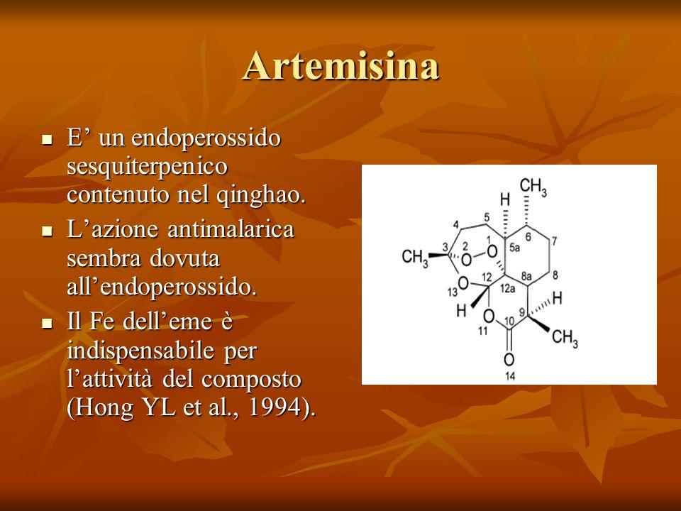Artemisina E un endoperossido sesquiterpenico contenuto nel qinghao. E un endoperossido sesquiterpenico contenuto nel qinghao. Lazione antimalarica se