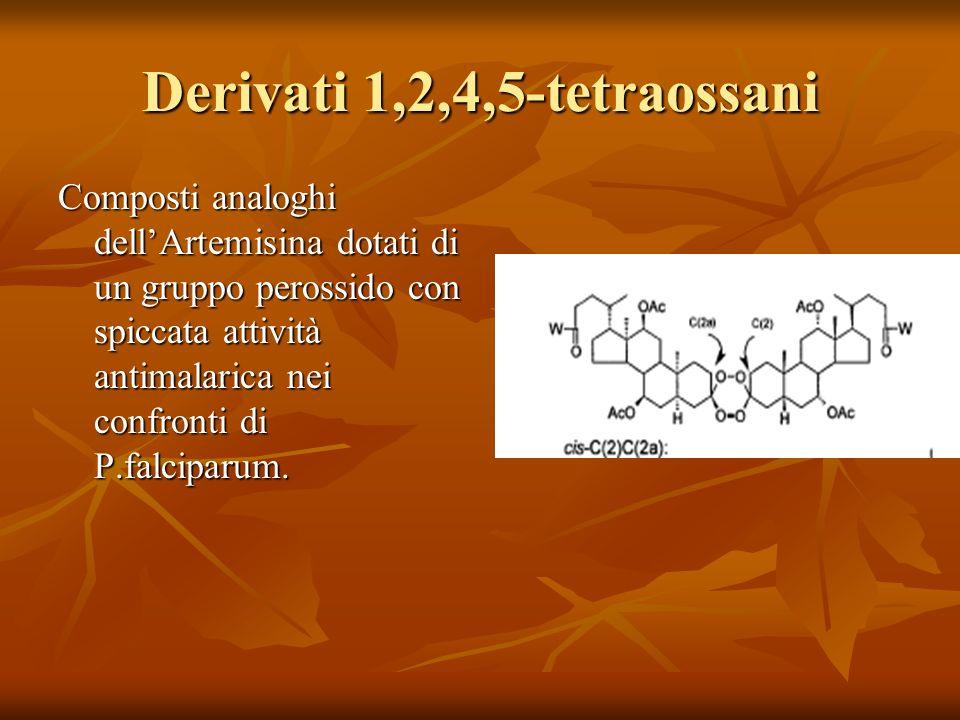 Derivati 1,2,4,5-tetraossani Composti analoghi dellArtemisina dotati di un gruppo perossido con spiccata attività antimalarica nei confronti di P.falc