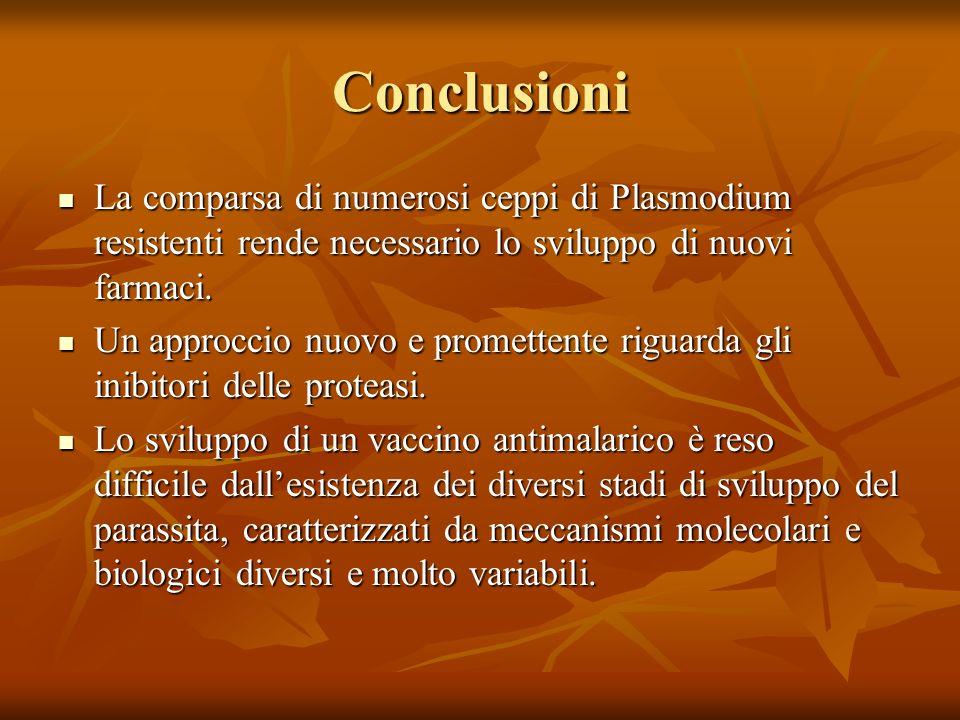 Conclusioni La comparsa di numerosi ceppi di Plasmodium resistenti rende necessario lo sviluppo di nuovi farmaci. La comparsa di numerosi ceppi di Pla