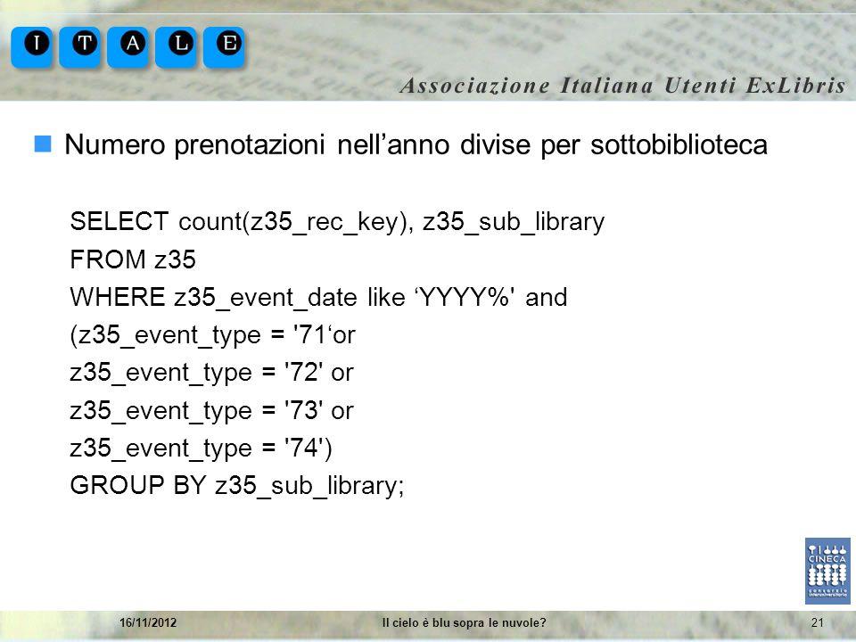 2116/11/2012Il cielo è blu sopra le nuvole? Numero prenotazioni nellanno divise per sottobiblioteca SELECT count(z35_rec_key), z35_sub_library FROM z3
