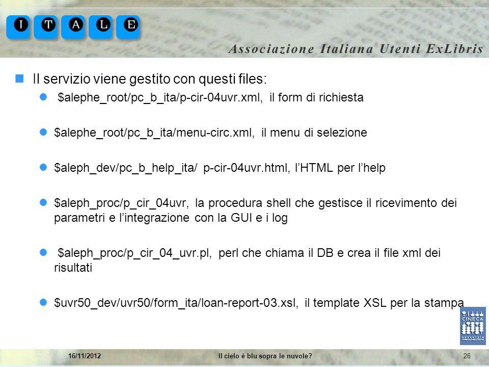 2616/11/2012Il cielo è blu sopra le nuvole? Il servizio viene gestito con questi files: $alephe_root/pc_b_ita/p-cir-04uvr.xml, il form di richiesta $a