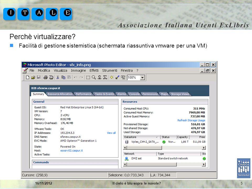 516/11/2012Il cielo è blu sopra le nuvole? Perchè virtualizzare? Facilità di gestione sistemistica (schermata riassuntiva vmware per una VM)