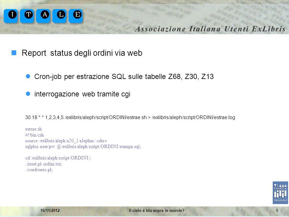 816/11/2012Il cielo è blu sopra le nuvole? Report status degli ordini via web Cron-job per estrazione SQL sulle tabelle Z68, Z30, Z13 interrogazione w