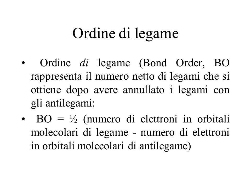 Ordine di legame Ordine di legame (Bond Order, BO rappresenta il numero netto di legami che si ottiene dopo avere annullato i legami con gli antilegam