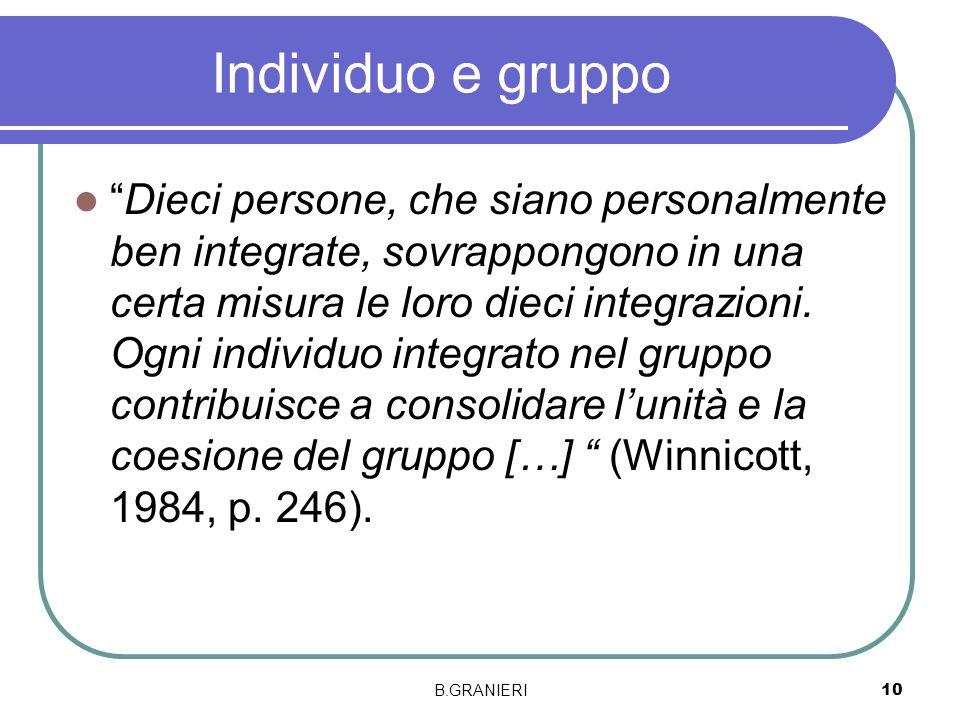 Individuo e gruppo Dieci persone, che siano personalmente ben integrate, sovrappongono in una certa misura le loro dieci integrazioni. Ogni individuo