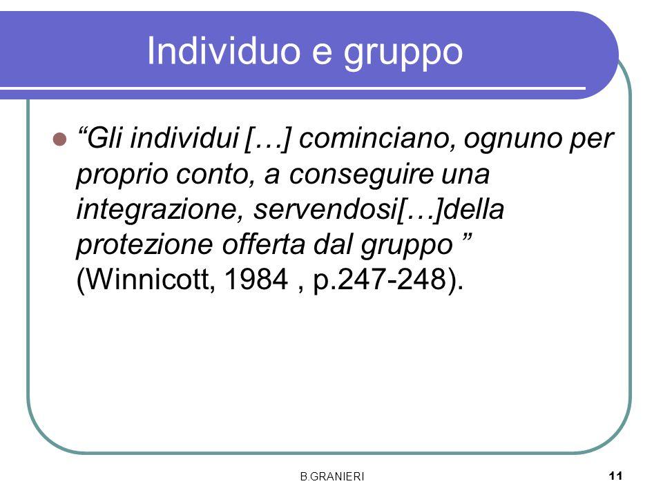 Individuo e gruppo Gli individui […] cominciano, ognuno per proprio conto, a conseguire una integrazione, servendosi[…]della protezione offerta dal gr