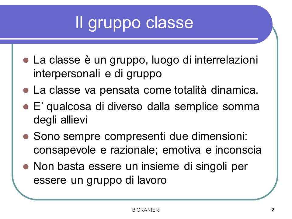 Il gruppo classe La classe è un gruppo, luogo di interrelazioni interpersonali e di gruppo La classe va pensata come totalità dinamica. E qualcosa di