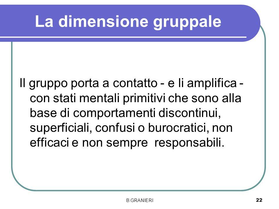 B.GRANIERI 22 La dimensione gruppale Il gruppo porta a contatto - e li amplifica - con stati mentali primitivi che sono alla base di comportamenti dis