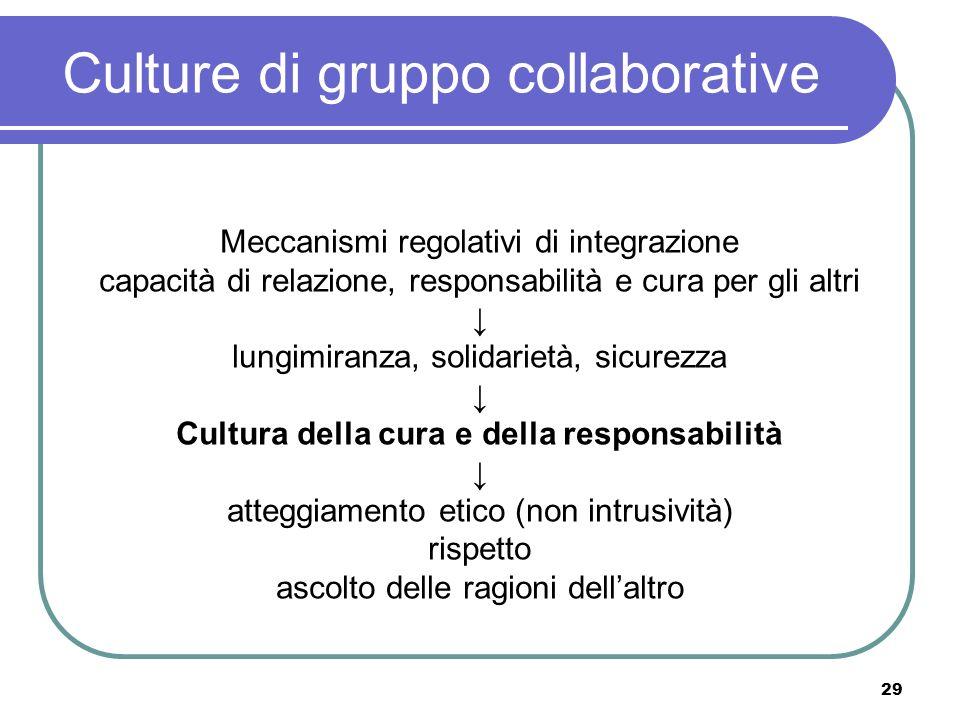 29 Culture di gruppo collaborative Meccanismi regolativi di integrazione capacità di relazione, responsabilità e cura per gli altri lungimiranza, soli
