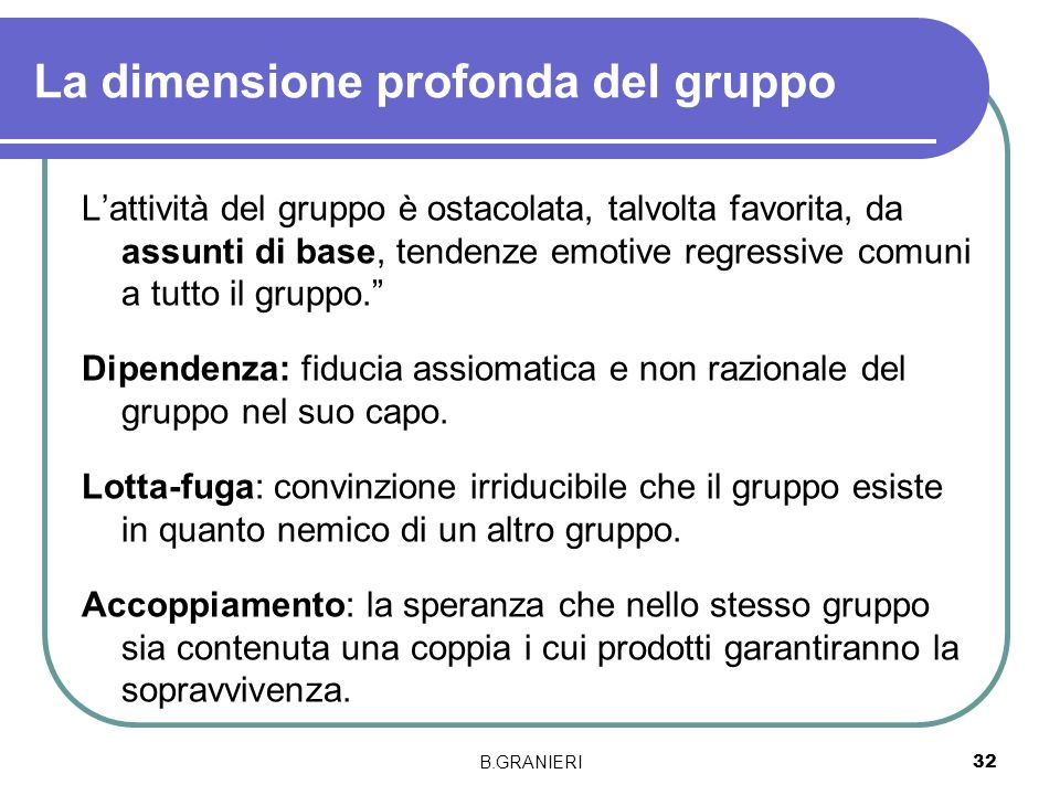 B.GRANIERI 32 La dimensione profonda del gruppo Lattività del gruppo è ostacolata, talvolta favorita, da assunti di base, tendenze emotive regressive