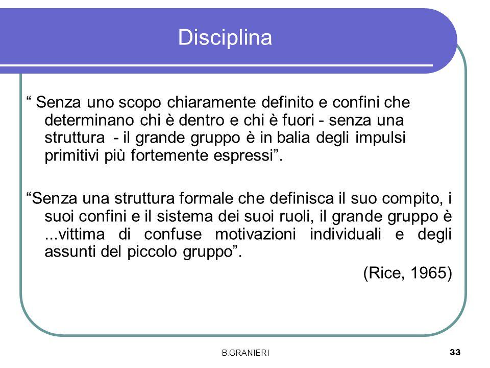 B.GRANIERI 33 Disciplina Senza uno scopo chiaramente definito e confini che determinano chi è dentro e chi è fuori - senza una struttura - il grande g