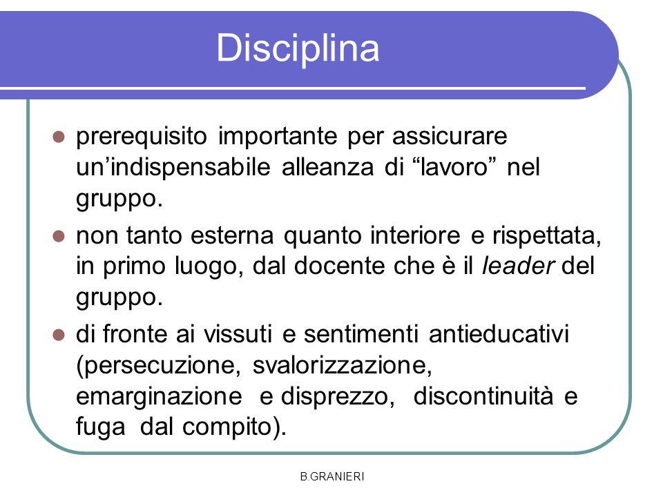 Disciplina prerequisito importante per assicurare unindispensabile alleanza di lavoro nel gruppo. non tanto esterna quanto interiore e rispettata, in