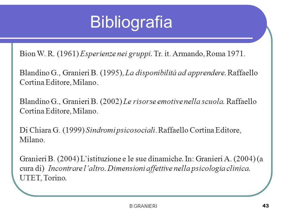 B.GRANIERI 43 Bibliografia Bion W. R. (1961) Esperienze nei gruppi. Tr. it. Armando, Roma 1971. Blandino G., Granieri B. (1995), La disponibilità ad a