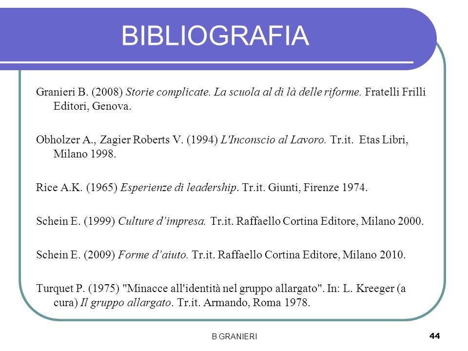BIBLIOGRAFIA Granieri B. (2008) Storie complicate. La scuola al di là delle riforme. Fratelli Frilli Editori, Genova. Obholzer A., Zagier Roberts V. (